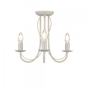 3 Arm Chandelier Metal Ceiling Light Fitting Cream-0