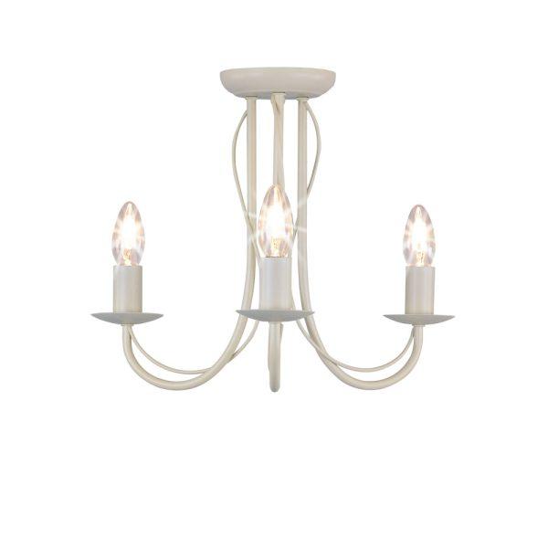 3 Arm Chandelier Metal Ceiling Light Fitting Cream-0