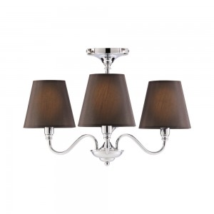 3 Arm Glass Chandelier Black-0