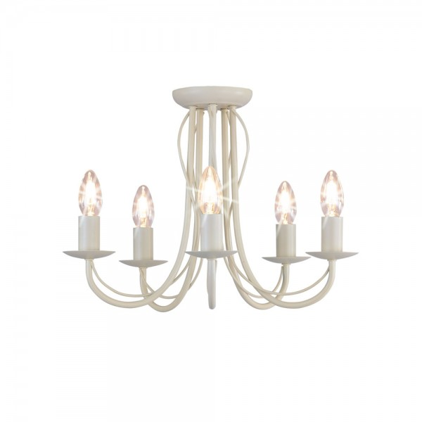 5 Arm Chandelier Metal Ceiling Light Fitting Cream-0