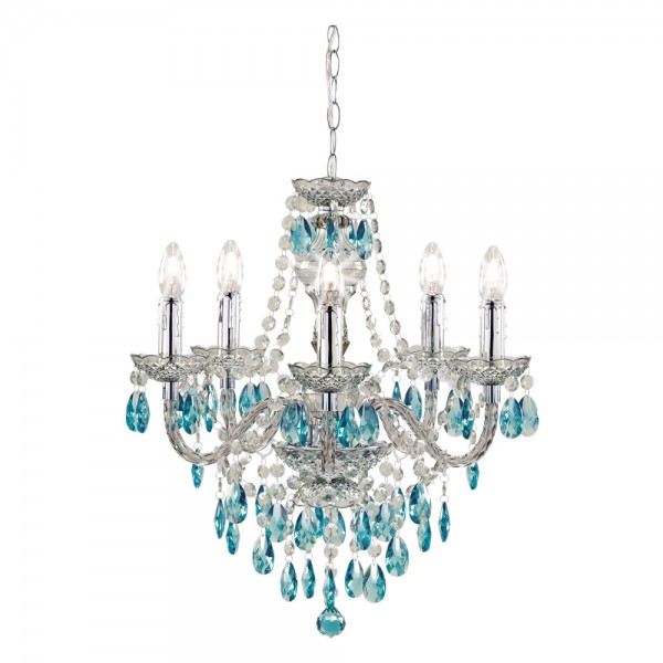 Chandelier Smoke With Teal 5 Arm-0