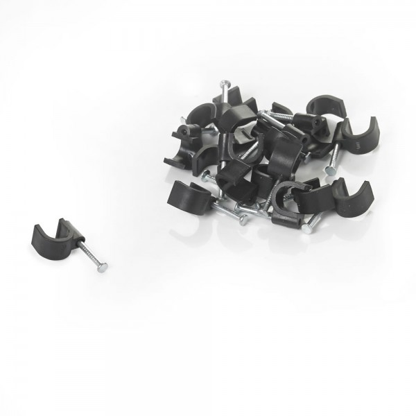 Round Cable Clip Black-0