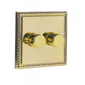 Twin 400W Dimmer Brass-0