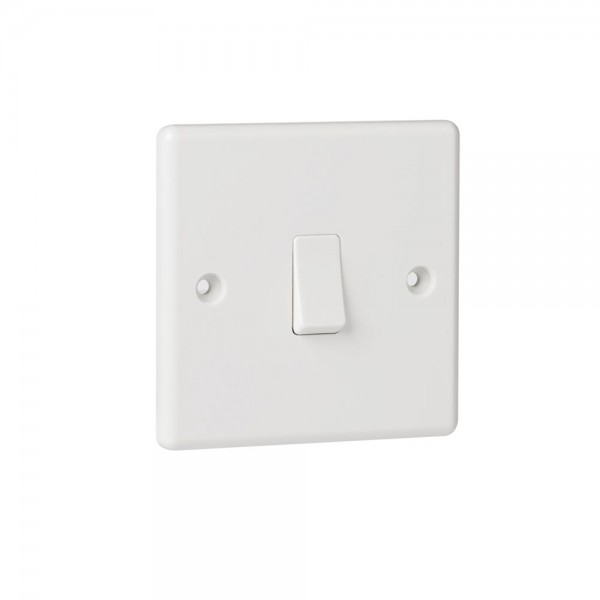 White Plastic 1G 2Way Switch-0