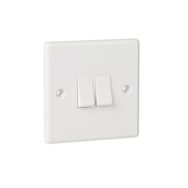 White Plastic 2G 2Way Switch-0