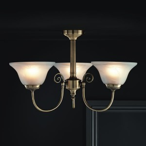 York Light Fitting Ceiling Antique Brass Effect 3 Light-0