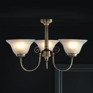 York Light Fitting Ceiling Antique Brass Effect 3 Light-0
